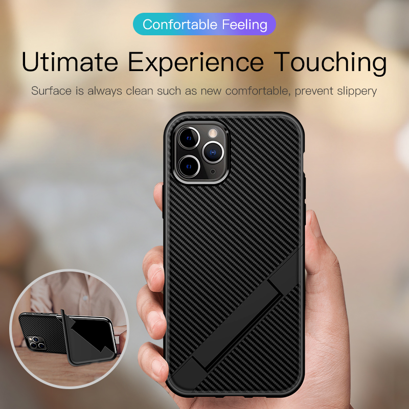 Galleria fotografica Ultra-thin Carbon Fiber Folding Stand Phone Case For iPhone 11 Pro Max XSmax XR XS 8 7 6s 6 Plus Luxury Silicone Bracket Cover
