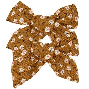 2PCS 2020 New Cotton Print Hair Bows For Baby Girls Plaid Hair Clips Barrettes Hairpins Headwear Hair Accessories