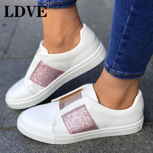 Women Slip On Loafers Bling Creepers Casual Moccasins Canvas Round Toe Solid Flat Shoes Spring Autumn Lady Footwear