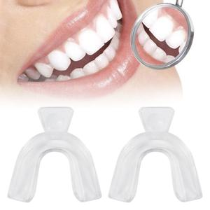 2Pcs Teeth Whitening Tray Mouthguard Bleaching Oral Hygiene Mouth Guard Tray Thermoforming Boil Bite Tray Mouth Guard Care Tool