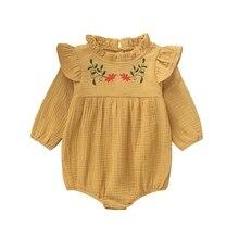 Autumn bodysuit for newborns Baby Clothes Long Flare Sleeve Flower Print Bodysuits Kids Jumpsuit Girls
