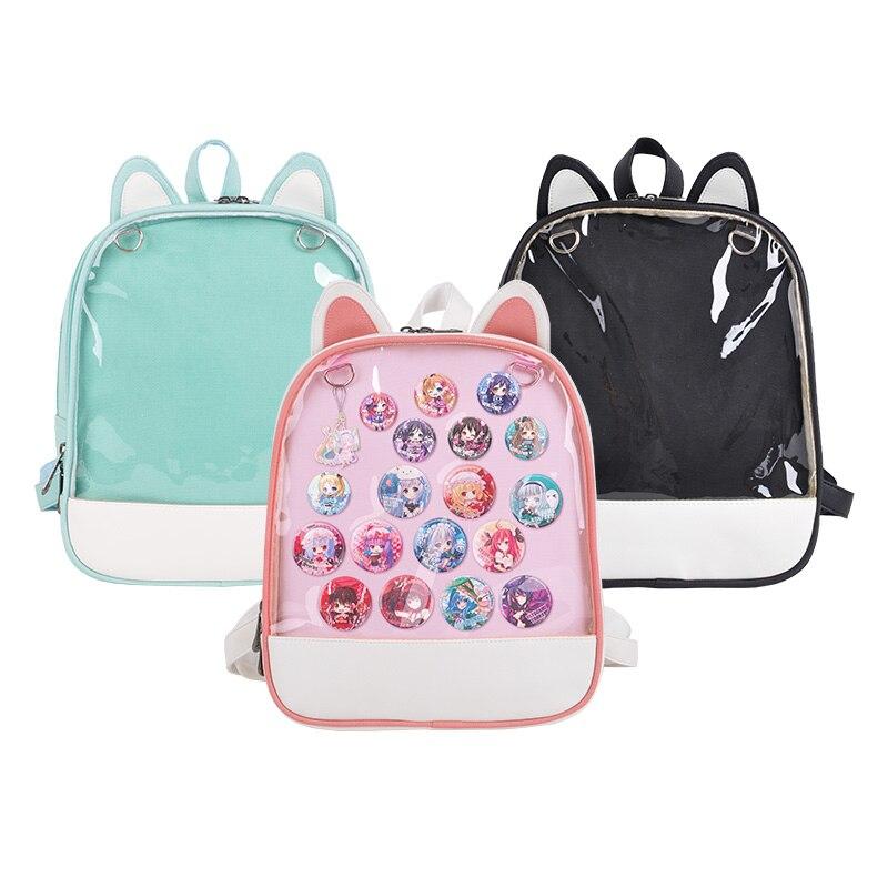 Transparent Sweet Lolita Japanese Anime Neko Atsume Korea Cute Cat Ears Shoulder Backpack Ita Bag PU JK Girl Cosplay