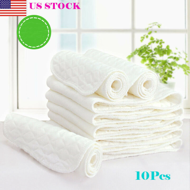 10 Pcs 3 Layers Microfiber Baby Nappies Reusable Baby Infant Newborn Cloth Diaper Nappy Liners Insert Fraldas