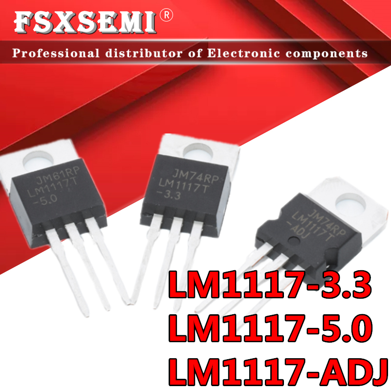 10 pces novo LM1117T-3.3 a-220 LM1117-3.3 lm1117t 3.3 v LM1117T-5.0 lm1117 5v LM1117T-ADJ a-220 regulador linear de baixa saída