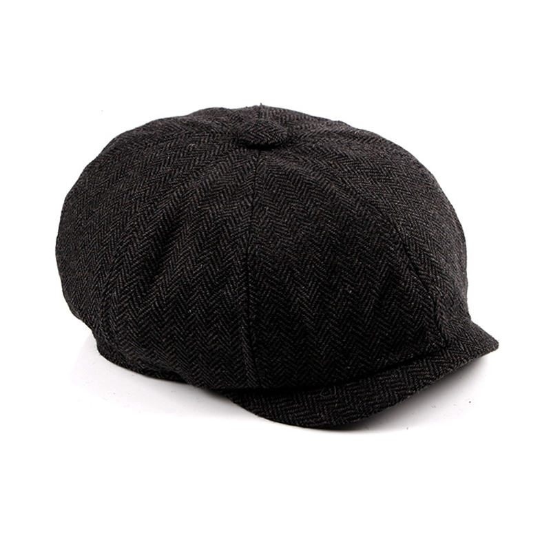 Мужские Восьмиугольные шляпы в британском стиле Зимняя шерстяная шапка Кепка-восьмиклинка картуз Гольф Вождение Осень Женская хлопковая плоская кепка таксиста кепка газетчика - Цвет: BK