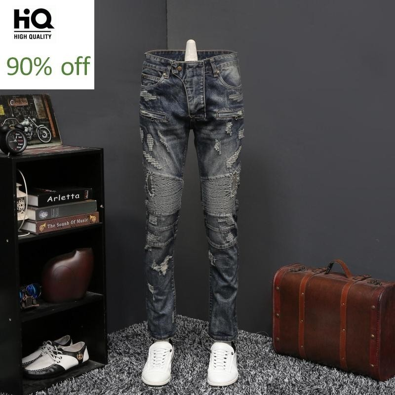 Punk Style Fashion New Mens Straight Hole Ripped Jeans Pants Full Length Pleated Distressed Casual Slim Fit Male Denim Trousers