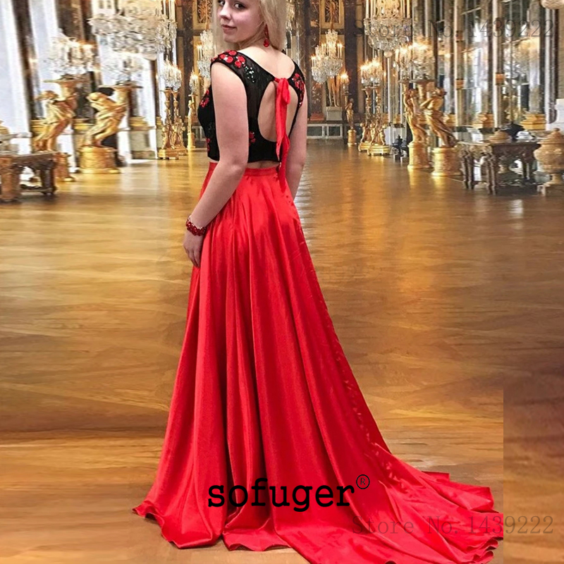 Noir rouge Aline soirée robes De bal Satin dentelle Appliques réservoir Occasion spéciale formelle fête diplômé robes De Gala Fiesta