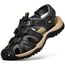 2021 moda masculina de couro de água sapatos de praia grande tamanho 38-48 sandálias de couro genuíno dos homens ao ar livre antiderrapante