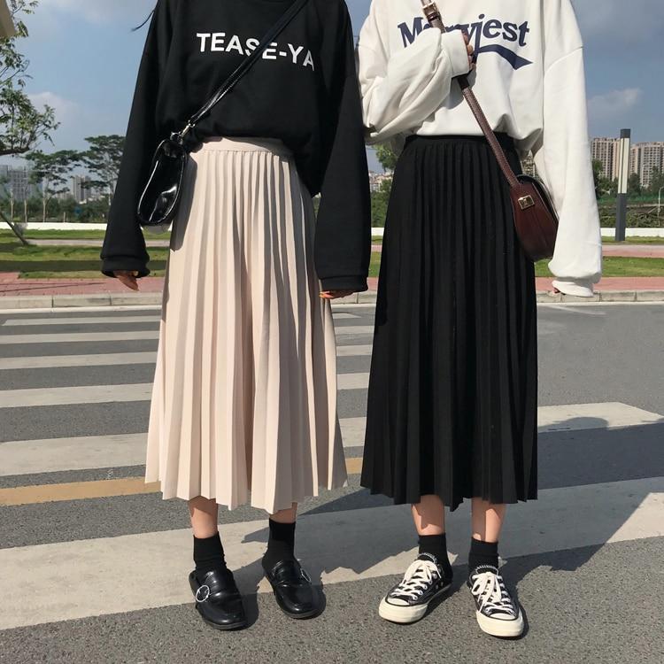 2020 Winter Women Draped Rib Pleated Skirt Elastic High Waist Long Skirt Female Autumn Ladies High Quality Midi Skirt Saia