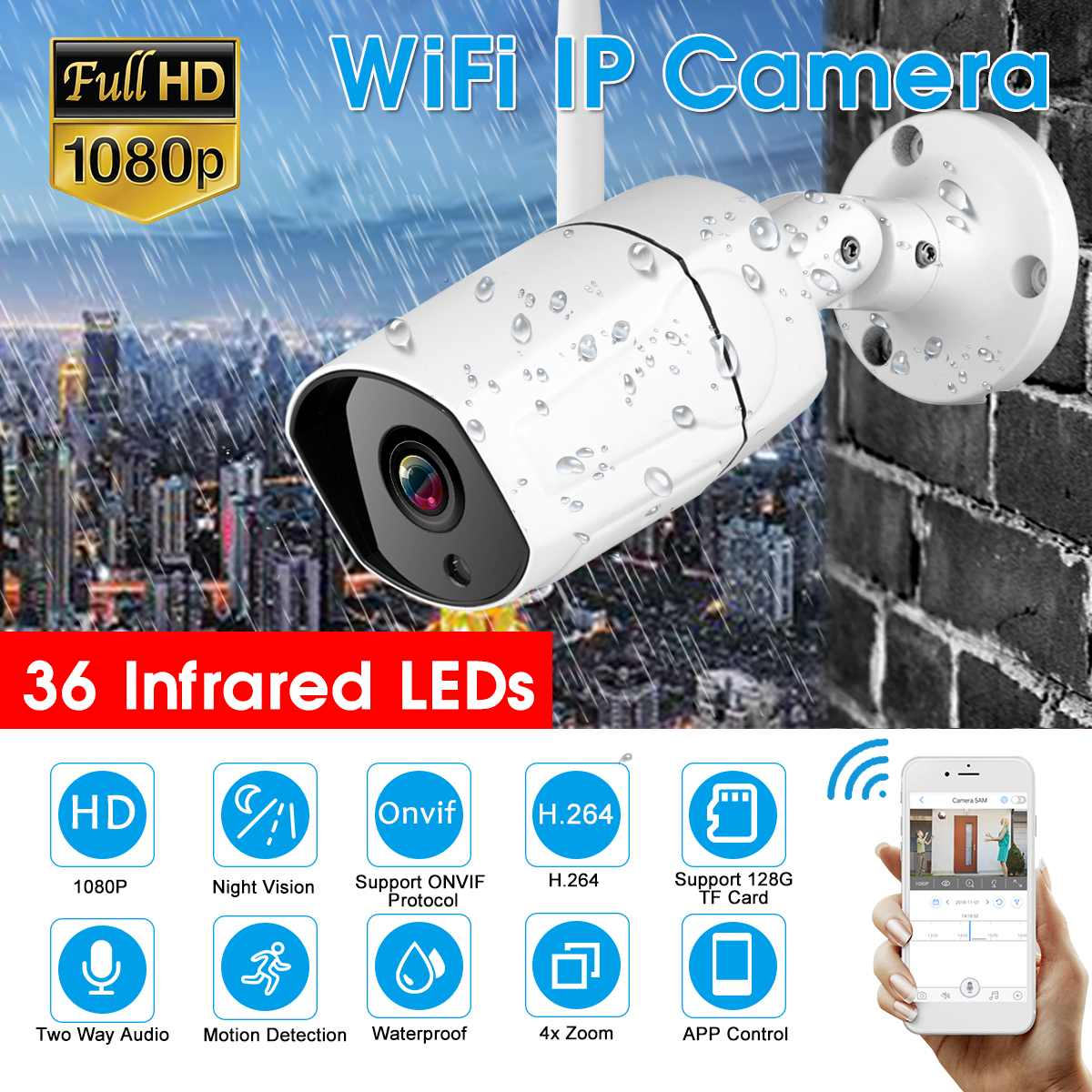 IP Camera Wifi Outdoor Waterproof HD Security Camera Wireless 1080P Night Vision Surveillance Camera CCTV Onvif Compatible