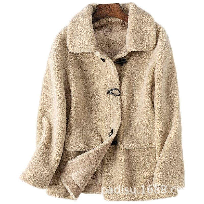 Streetwear Wool Jacket Autumn Winter Coat Women Clothes 2020 Real Fur Coat Korean Vintage Tops Sheep Shearling Suede Lining 3305