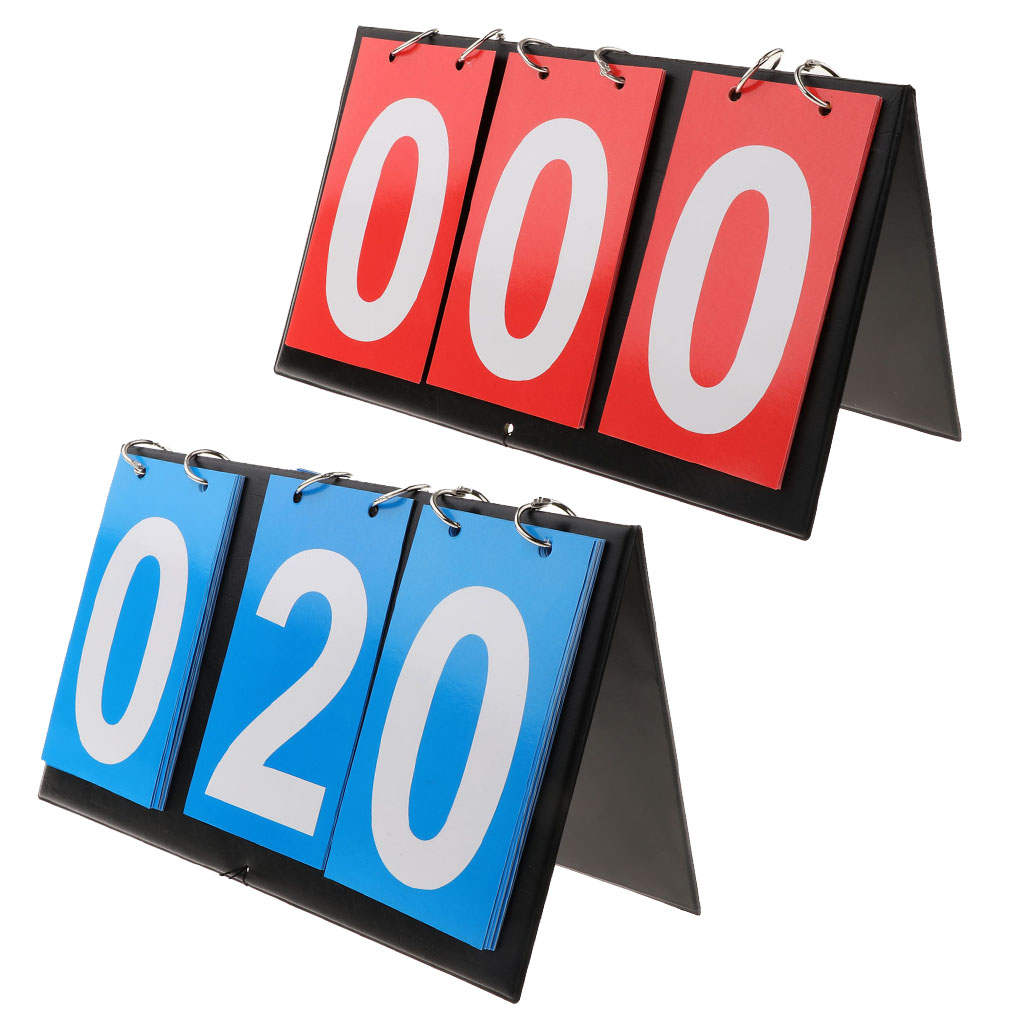 3 Digit Durable Sports Equipment Flip Scoreboard PVC Cards For Basketball, Table Tennis, Volleyball