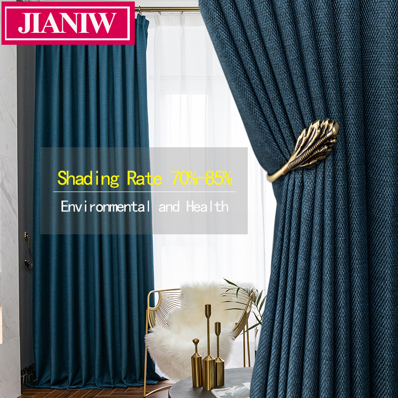 JIANIW Faux Linen 80%-85% Shading Thick Thermal Insulated Blackout Curtains Blinds For Bedroom Living Room Drapes Custom Made