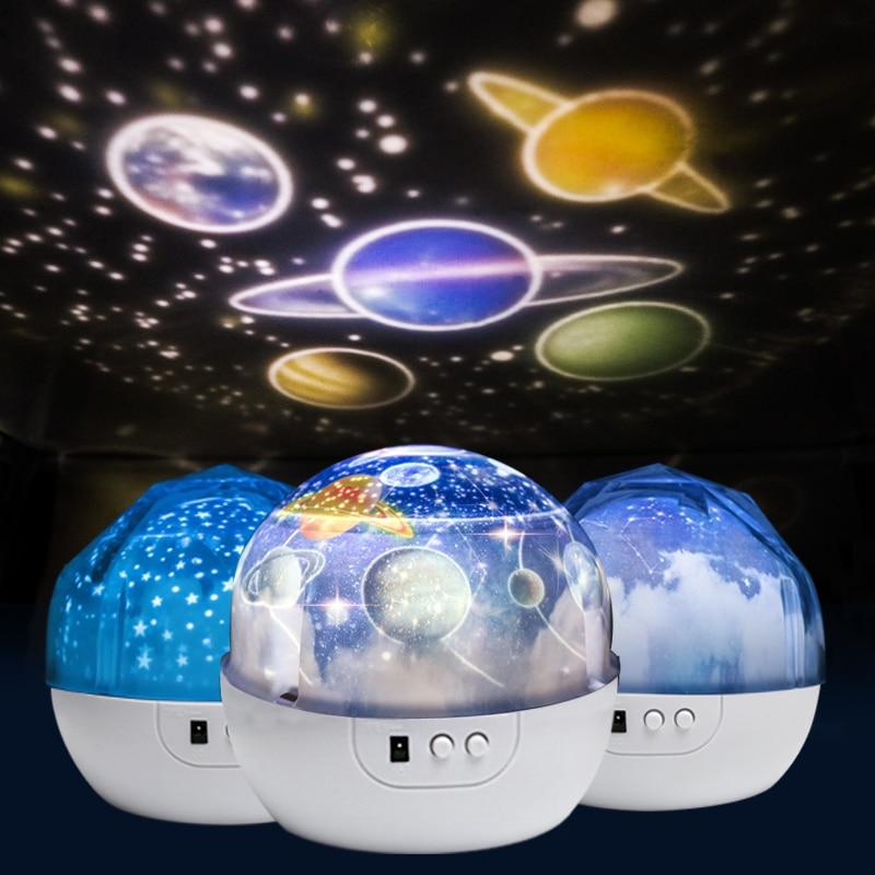Starry Sky Nachtlicht Planeten Magie Projektor Earth Universe LED Lampe Bunte Drehen Blinkende Sterne Spielzeug Kinder Baby Weihnachten Geschenk