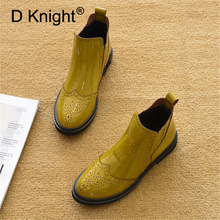British Carved Women Western Boots Patent Leather Flat Heel Lady Chelsea Boots Shoes