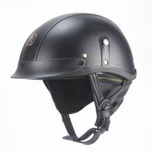 AHP Motorcycle German Half Face Helmet Chopper 3/4 leather helmet