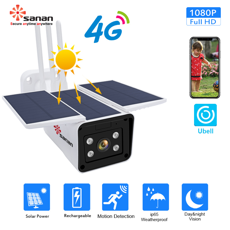SANAN 1080P Solar Security Camera GSM 4G SIM Card Outdoor Waterproof Wireless IP Camera Night Vision Built-in 10400mAh Battery