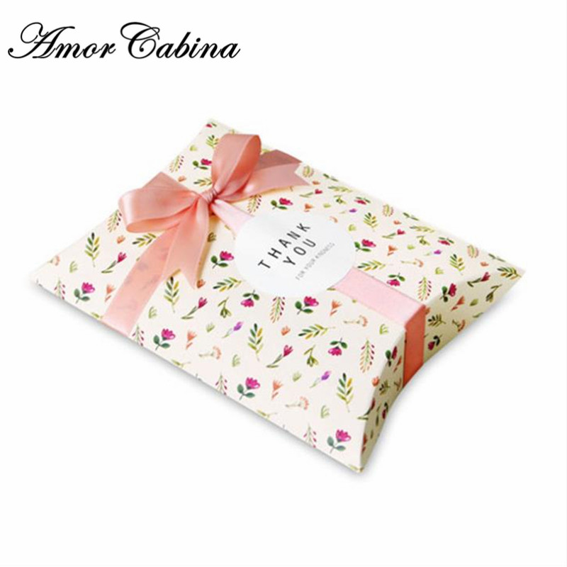 50pcs Mori jasmin petite fleur fraîche papier oreiller boîte de bonbons de mariage enfants fête d'anniversaire biscuit boîte cadeau boîte