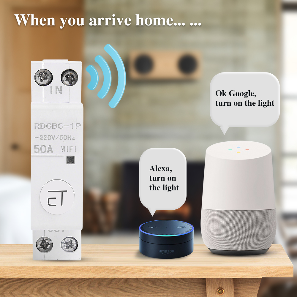 eWelink 1P WiFi remote control circuit breakerSmart din rail switch compatiable with amazon Alexa and google home for Smart Home 3