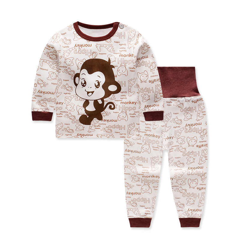 CYSINCOS bebé cálido cuello redondo hombro hebilla ropa de niño más terciopelo engrosamiento conjuntos de ropa interior térmica para niños