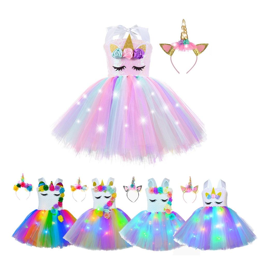 Девушка Единорог платья для юбка-пачка для девочек принцессы вечерние платья со светодиодными огнями для дня рождения с цветочным принтом ...