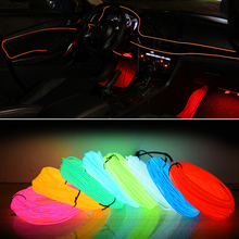 Car Styling 5M LED Cold Lights Flexible Neon Light EL Wire Party Interior Decoration Lamp With USB Cigarette Sound Control Drive цена
