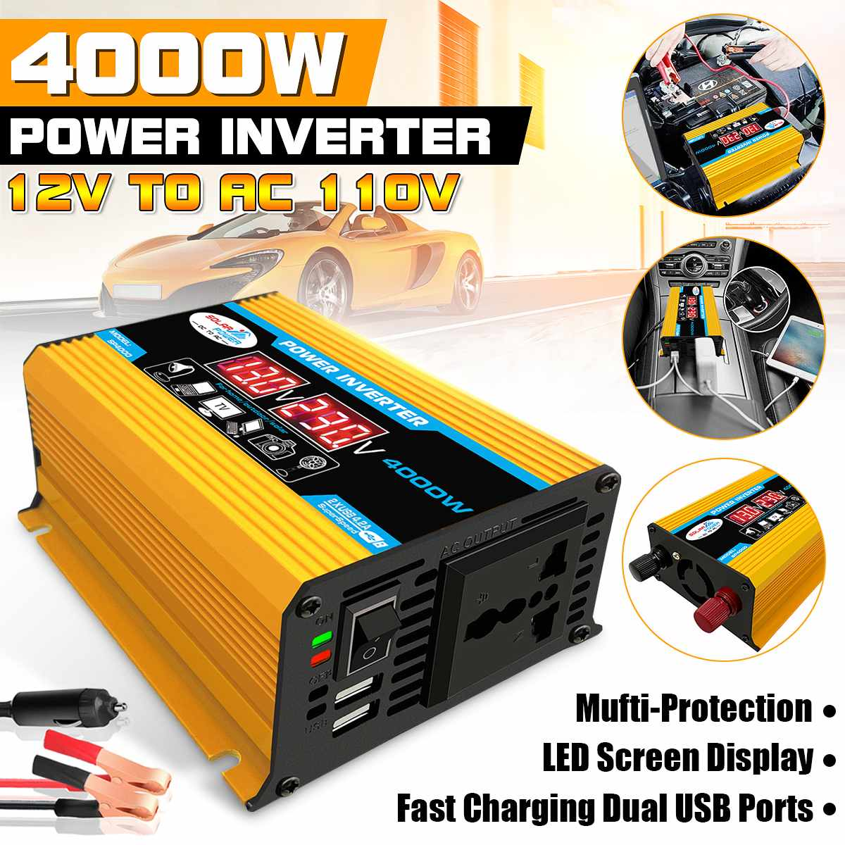 4000W 12V To 220V/110V Dual USB Car Power Inverter Converter Charger Adapter  Voltage Transformer Modified Sine Wave LED Display