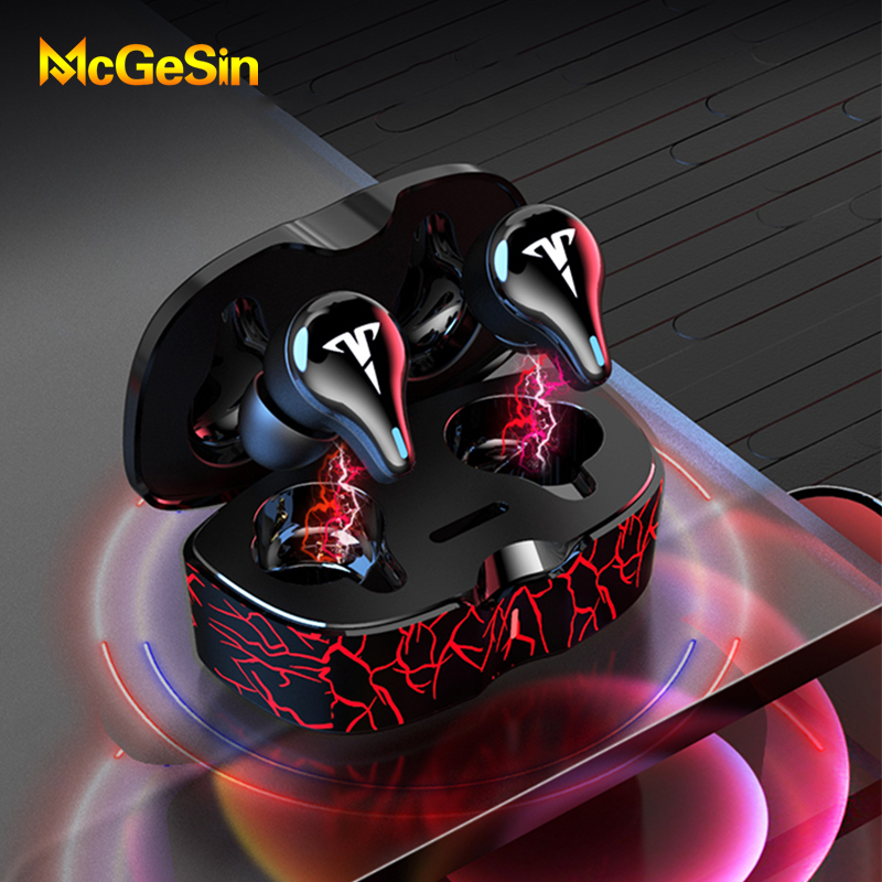 Wireless Headphones Gaming Earphones Bluetooth V5.1 Low Latency Game Headsets 8D Stereo Music Earbuds IPX6 Waterproof With Mic