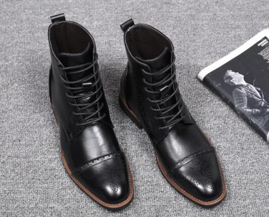 Winter Genuine Leather Lace-up Bullock Carved Ankle Boots  Fashion High-top Falt Dress Shoes Round Toe Martin Boots Big Size 48