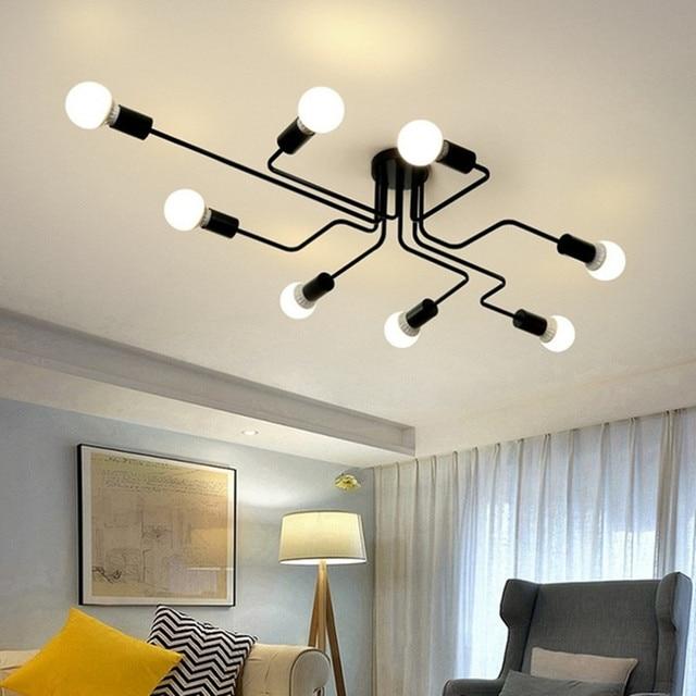 Modern LED Ceiling Chandelier Multiple Rod Wrought Iron Loft E27 Nordic Ceiling Chandeliers For Living Room Bedroom Light lustre