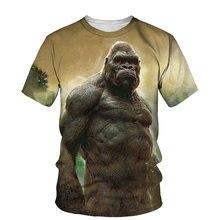 3D King Kong Gorilla Print T-shirt Men 2021 Summer New O Neck Short Sleeve Tees Tops Fashion Style Male Clothes Casual T-shirts