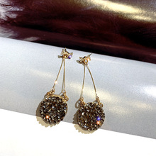 S925 Silver Needle Temperament  Bow Earrings Retro Round Long Fashion Red Air Female tassel earrings