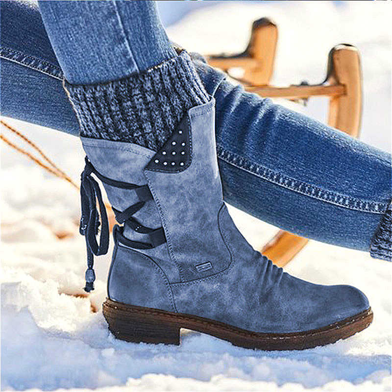 VIP kadın yarım çizmeler Retro deri kadın yüksek topuklu sonbahar kış kadın orta buzağı çizmeler dantel-up artı boyutu vintage kadın patik