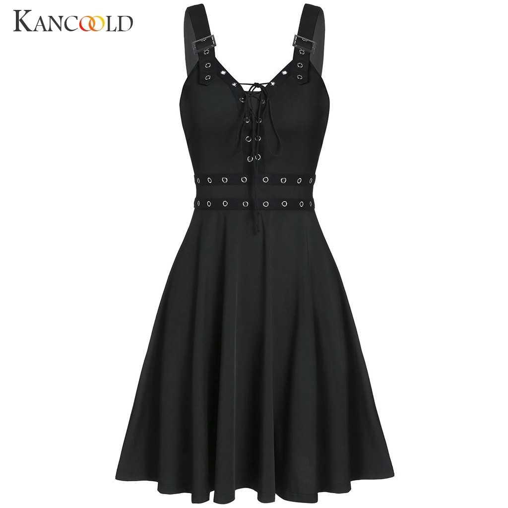 KANCOOLD ผู้หญิง Gothic Punk สายคล้องสลิงชุด Backless เซ็กซี่ไม่มีสายหนังชุด