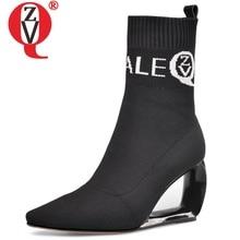 ZVQ ยี่ห้อผู้หญิง booties ถักผ้าขนสัตว์ยืดฤดูใบไม้ร่วงฤดูหนาวน่ารักสีชมพูแฟชั่นสีดำ hollow รองเท้าส้นสูงรองเท้าผู้หญิง 43CN