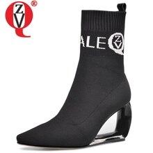 ZVQ marke frau booties stricken wolle stretch stiefel herbst winter nette rosa mode schwarz hohl high heels frauen schuhe 43CN
