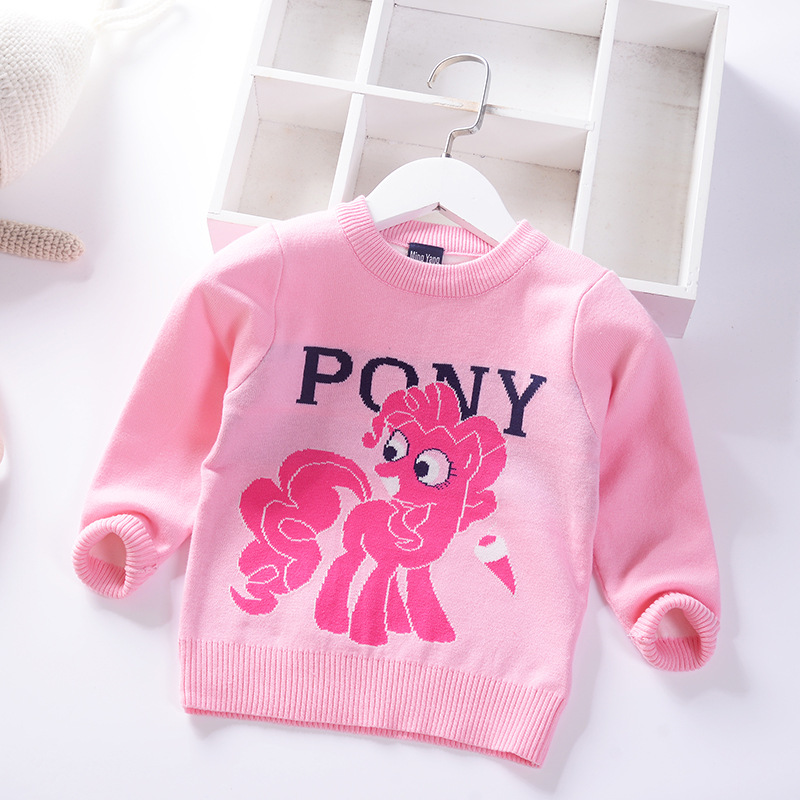 Cartoon My Little Girls Pullover Knitting Shirt 19 Autumn And Winter New Style CHILDREN'S Round Collar Sweater 2-7 Years Old Bab