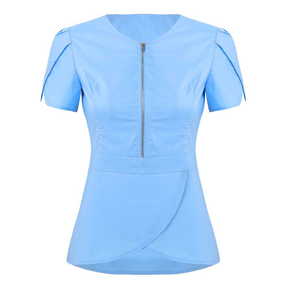 Women Summer V Neck Short Sleeves Tulip Hem Solid Color Dental Clinic Medical Service Scrub Nurse Uniform Adult Doctor Tops