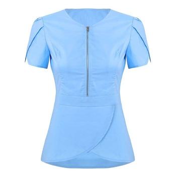 Women Summer V Neck Short Sleeves Tulip Hem Solid Color Dental Clinic Scrub Nurse Uniform Adult Doctor Tops