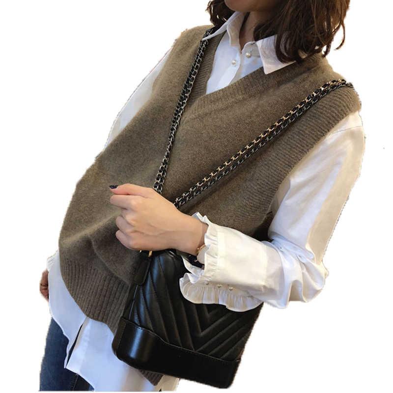 Herfst en winter modellen losse V-hals kasjmier wol vest dames gebreide effen kleur mouwloze trui regelmatige trui Selling