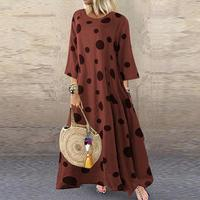 Vintage Autumn Dress Women's Sundress Fashion O Neck 3/4 Sleeve Long Vestidos Three Quarter Plus Size Polka Dot Femme Sundress
