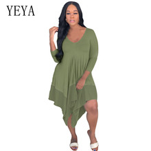 YEYA Women Beach Loose Dress Stitching Chiffon Pullover Casual Long Sleeve Irregular Hem Ladies Dresses Robe Femme
