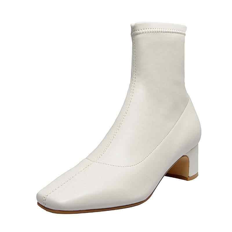 Superstar büyük boy kare ayak med topuklu fermuar kadın yarım çizmeler dikiş zarif elbise katı streç çizmeler sıcak kış ayakkabı L61