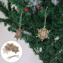 10Pcs Hanging Snowflake Wooden Hollow Carved Christmas Tree Ornament Home Decor Pendant