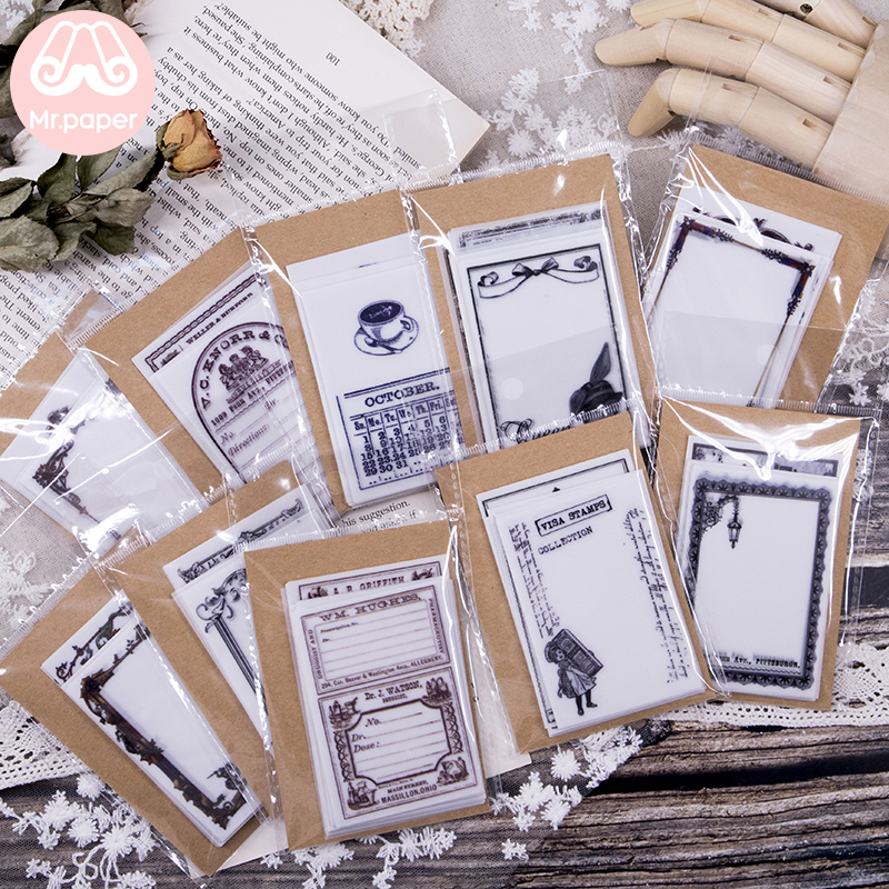 Mr Paper 45pcs/lot Vintage Sulphuric Acid Paper Notes Transparent Butter Paper Memo Pads Loose Leaf Notepad Diary Memo Pads