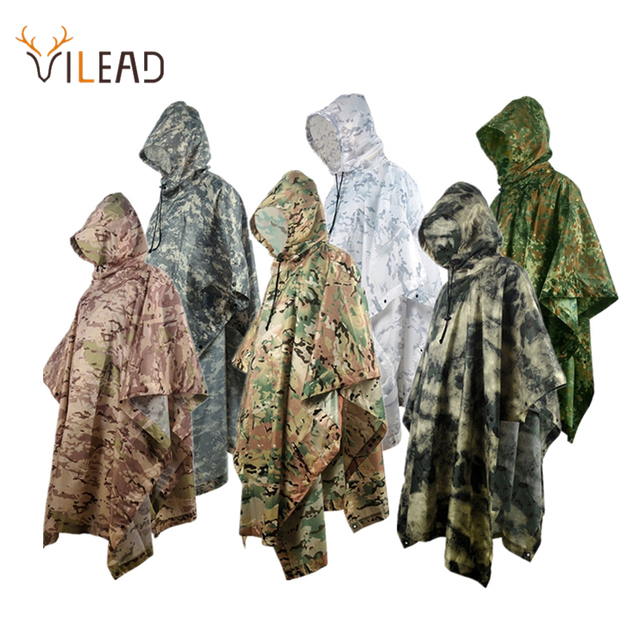 VILEAD Poly Waterproof Raincoat Impermeable Outdoor Equipment Multi-Functional Motorcycle Rain Poncho Canopy Men Women Durable 1