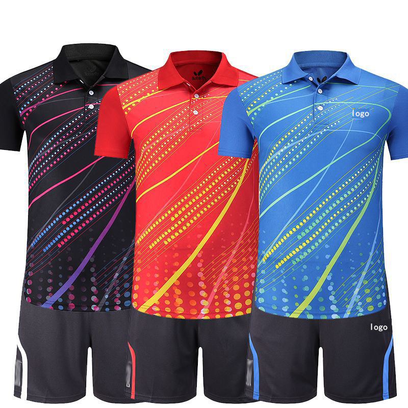 2019 Butterfly Table Tennis Wear Wicking Breathable Fold-down Collar Short Sleeve Summer Racing Suit But Lettering Groups Men An