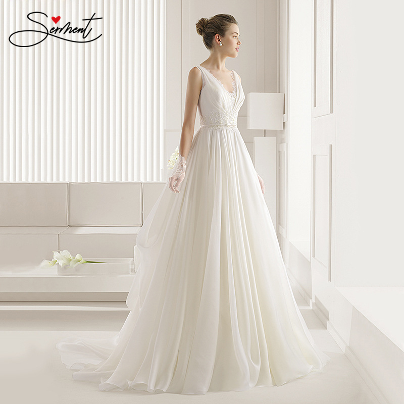 SERMENT Simple And Elegant Lace Light Wedding Dress Square Collar Lace Up Suitable For Slim Bride Court Train  Wedding Dresses