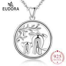 Eudora New Real 925 Sterling Silver Animal Elephant Pendant Necklaces Fashion Silver Jewelry for Women Girls Romantic Gift D142