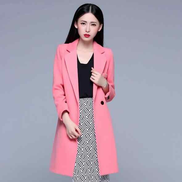 Manteau Hiver 2019 Winter Coat Women Vintage Single Button Warm Wool Coat Long Overcoat Beige Pink Black abrigos mujer DF610